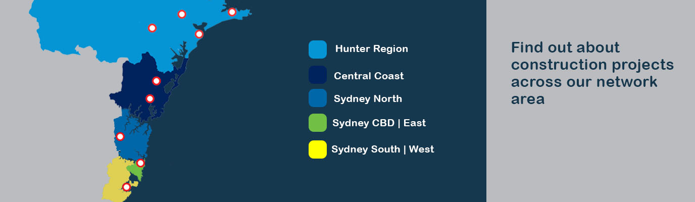 map of aisgrid regions showing Hunter Region Central Coast Sydney North Sydney CBD East, and Sydney South and West