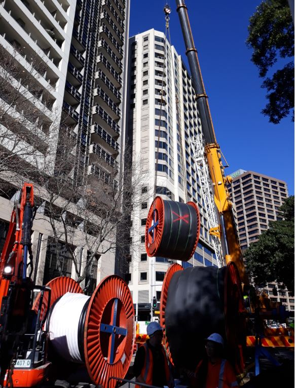 Work to install new underground cables in the Sydney CBD