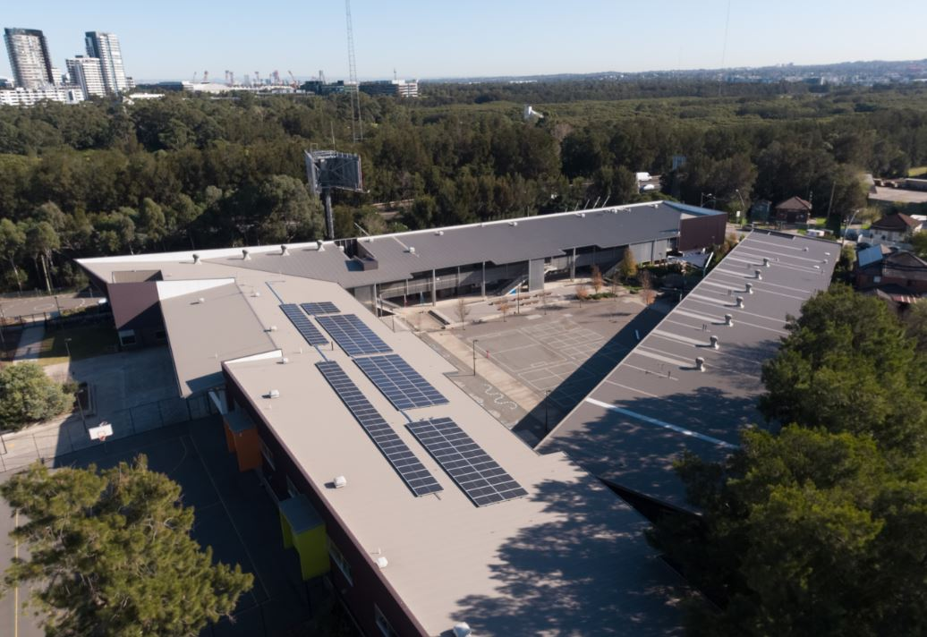 An aerial image of solar panels on the roof of Victoria Avenue Public School in Concord West