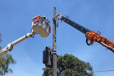 Storm damage in Lindfield - Ausgrid worker in a EWP lift